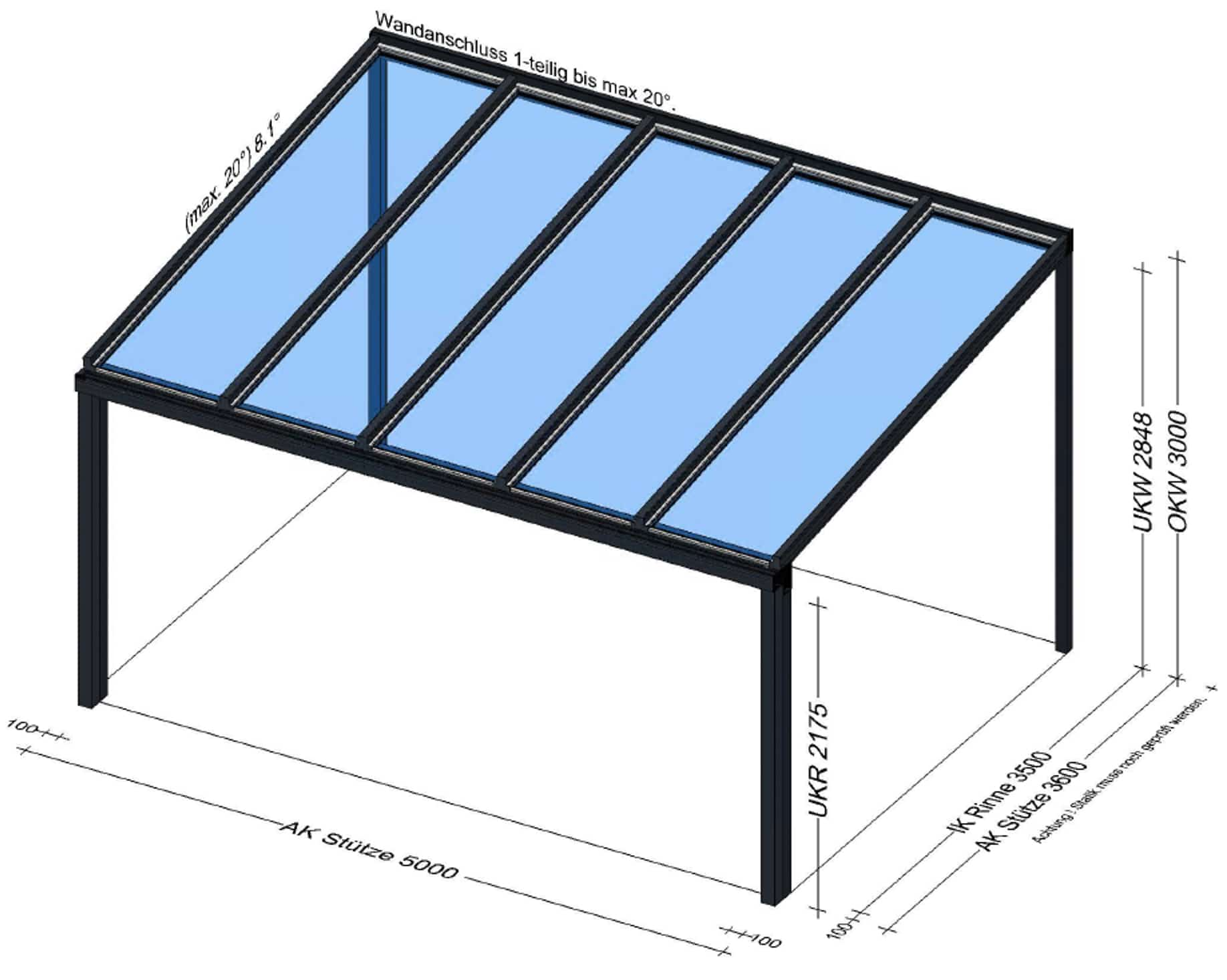 Terrassenüberdachung Alu Glas in Alkoven - OÖ