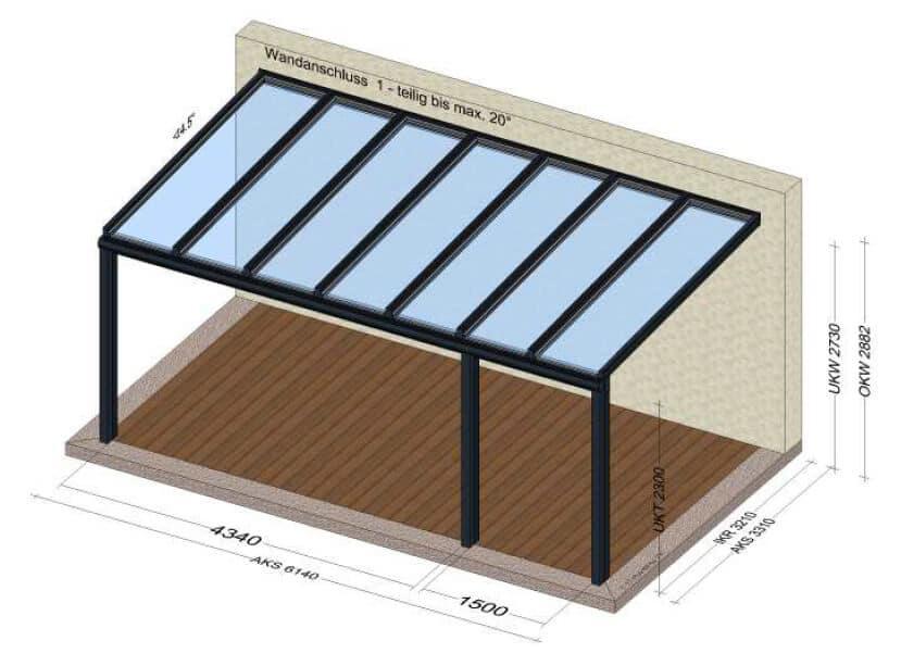 Terrassenüberdachung Alu Glas Skizze
