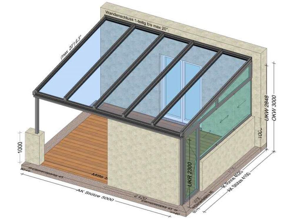 Terrassenüberdachung Alu mit einer Seite verglast - Planung