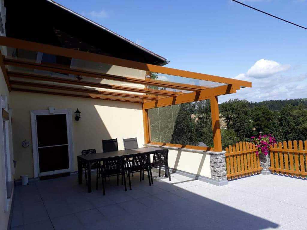 Terrassenüberdachung Alu mit Schiebewand