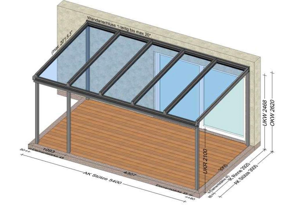Terrassenüberdachung Aluminium mit Formrohr an der Wand - Planung