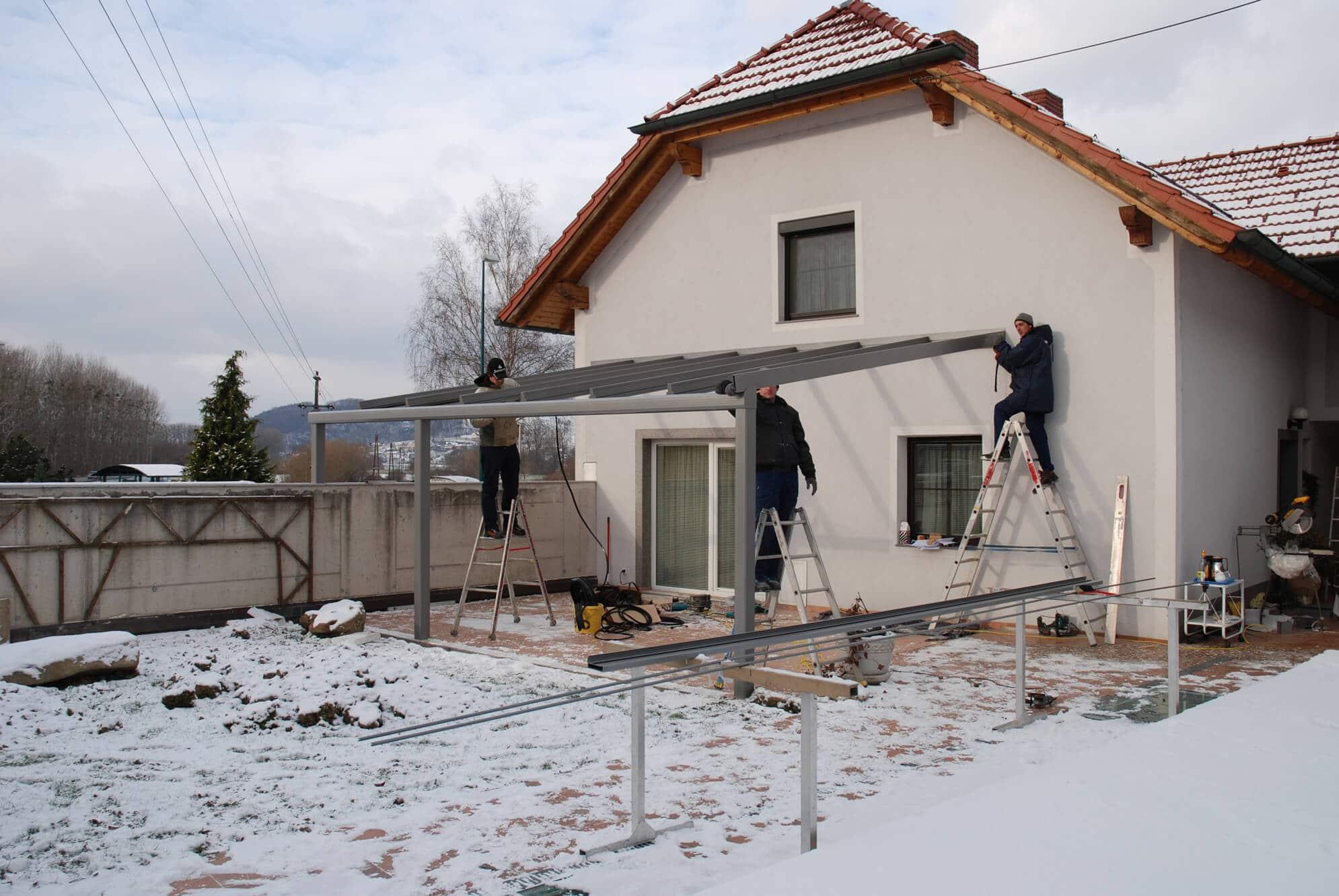 Terrassenüberdachung Aluminium Montage