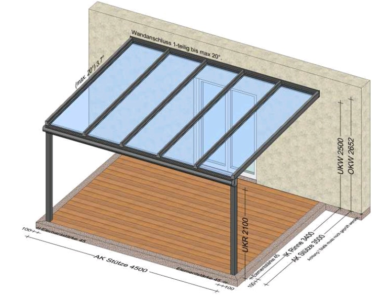 Terrassenüberdachung an Hauswand