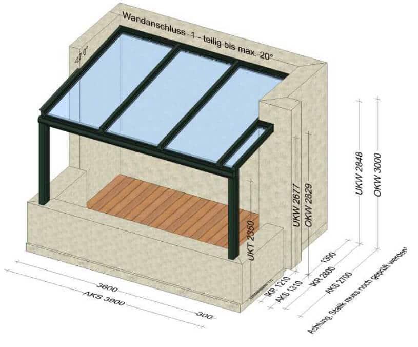 Terrassenüberdachung auf Balkon - Zeichnung