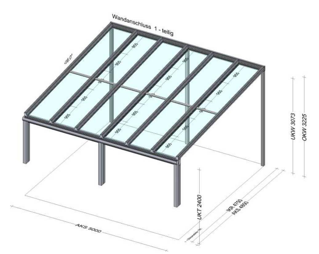 Terrassenüberdachung auf Brüstung