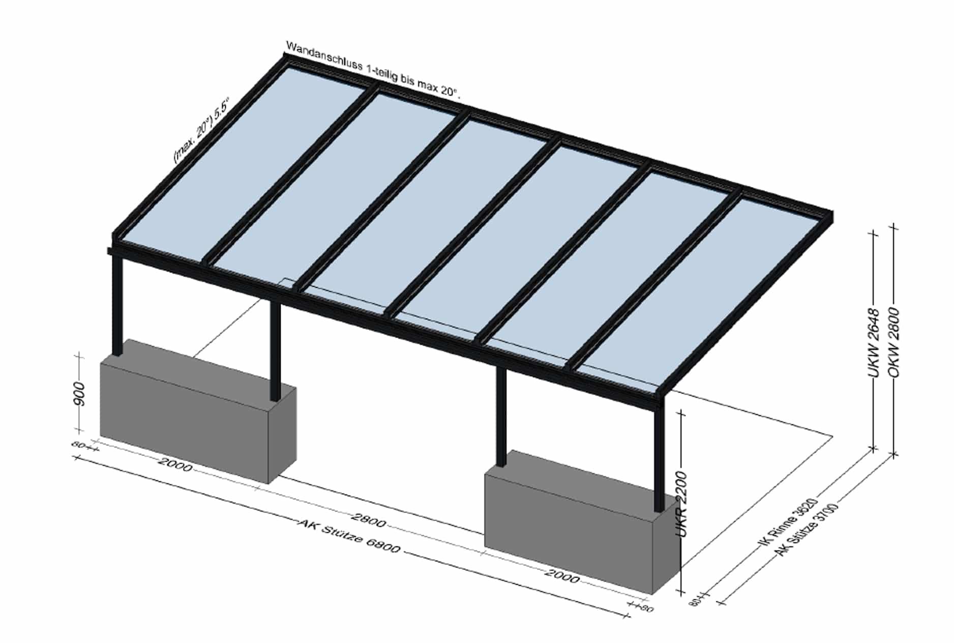 Terrassenüberdachung auf gemauerten Sockel montiert