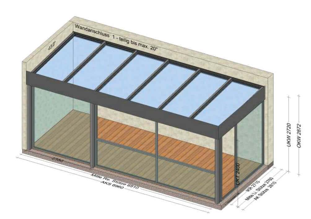 Terrassenüberdachung Flachdach Attika in grau - teilverglast - Planungszeichnung