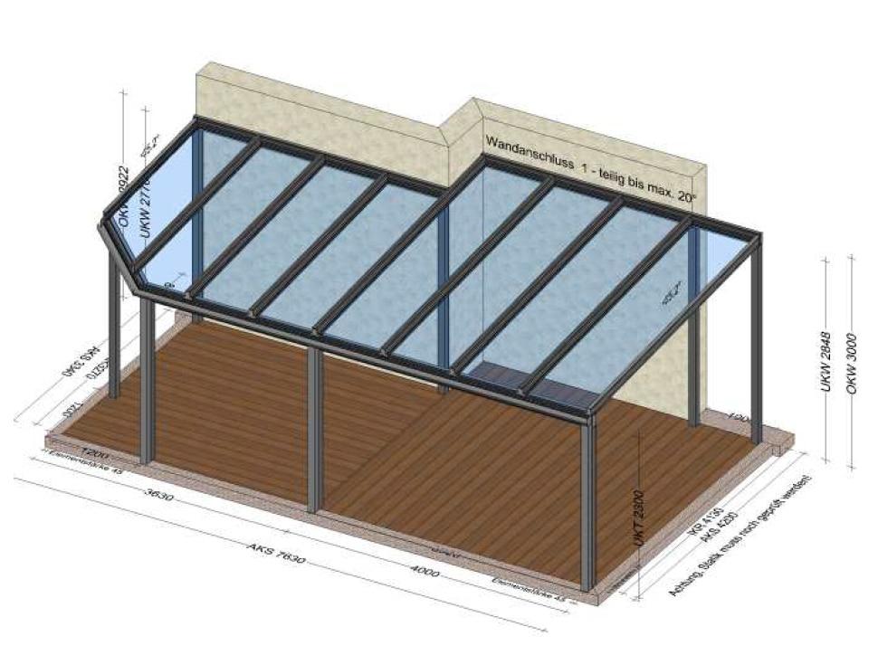Terrassenüberdachung freitragend Alu mit abgeschrägtem Dach
