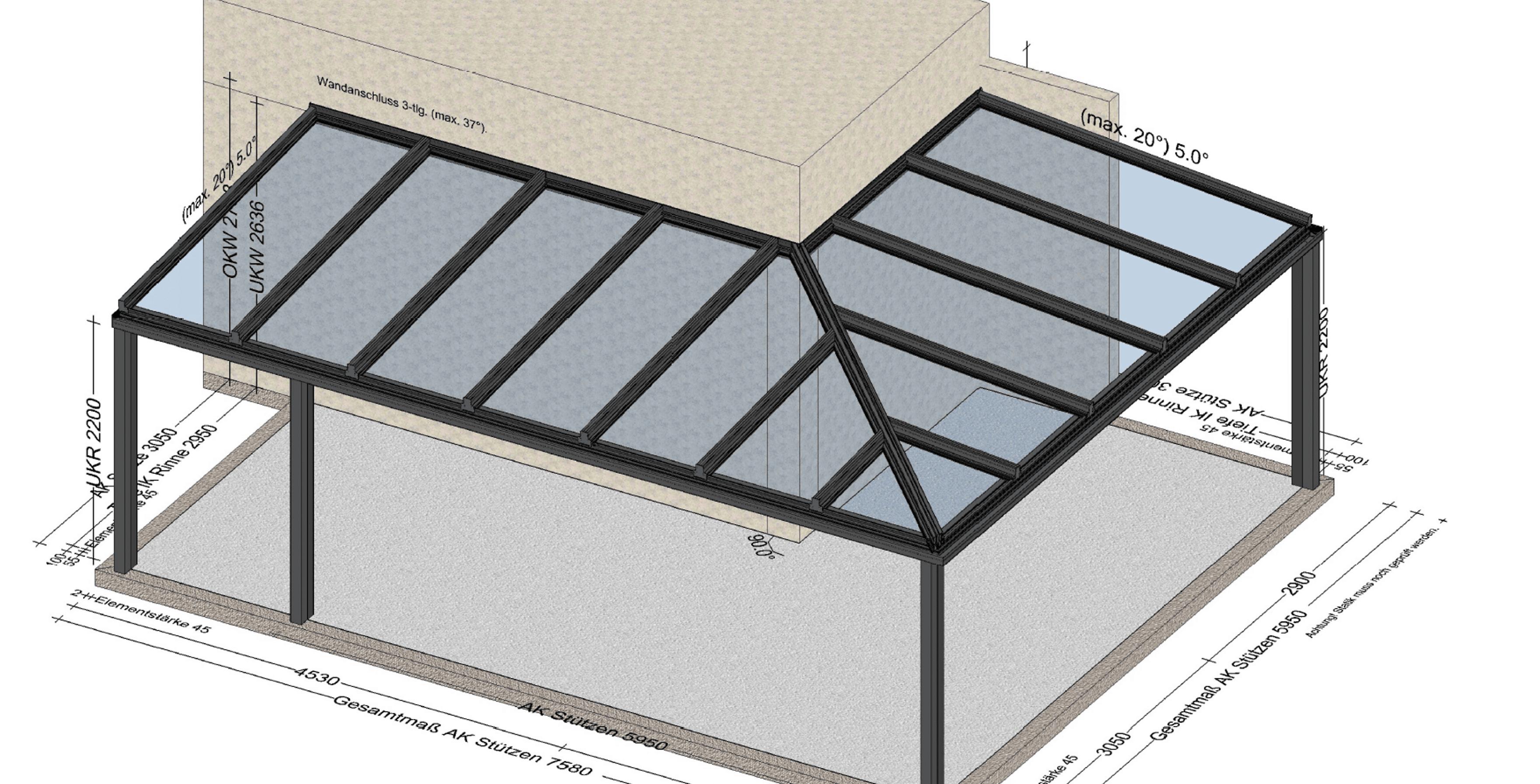 Terrassenüberdachung Ideen für Eckkonstruktion