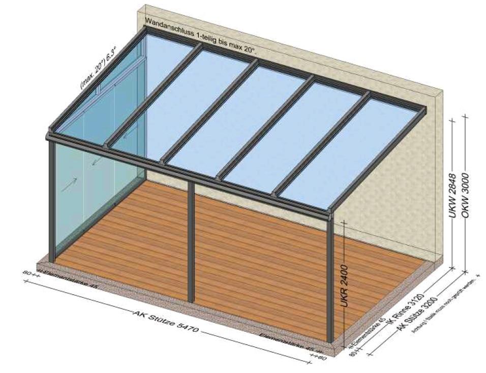 Terrassenüberdachung linke Seite mit Schiebetüre