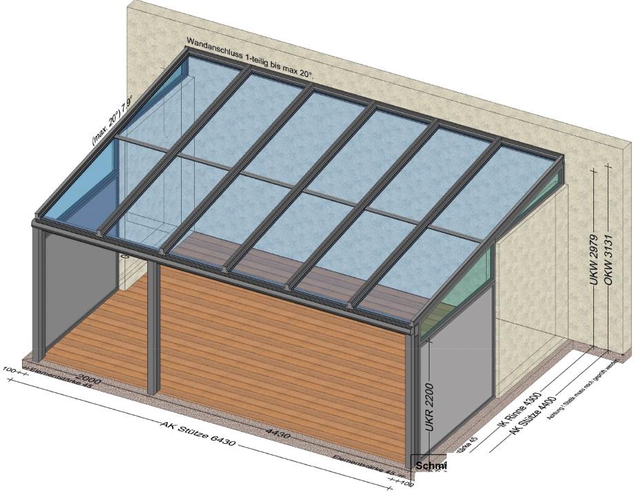 Terrassenüberdachung mit 2 geschlossenen Seiten