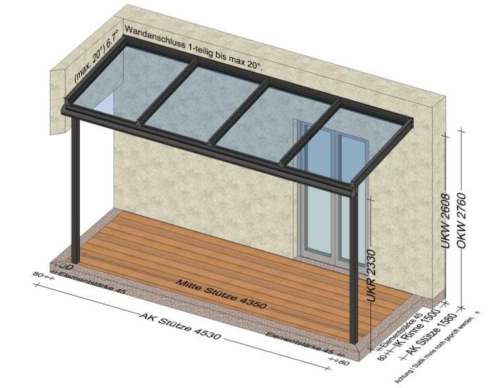 Terrassenüberdachung mit 4 Glasfeldern am Dach