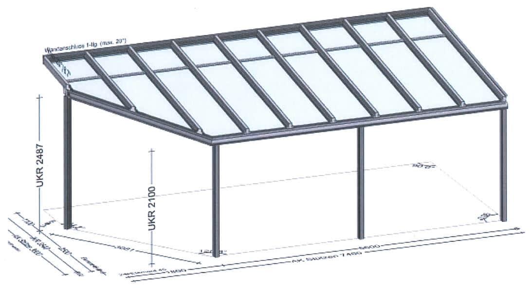 Terrassenüberdachung mit abgeschrägtem Eck
