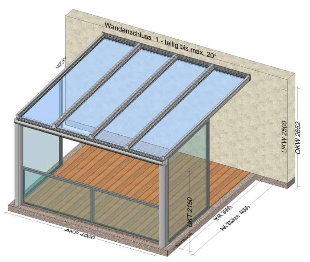 Terrassenüberdachung mit Absturzsicherung vorne