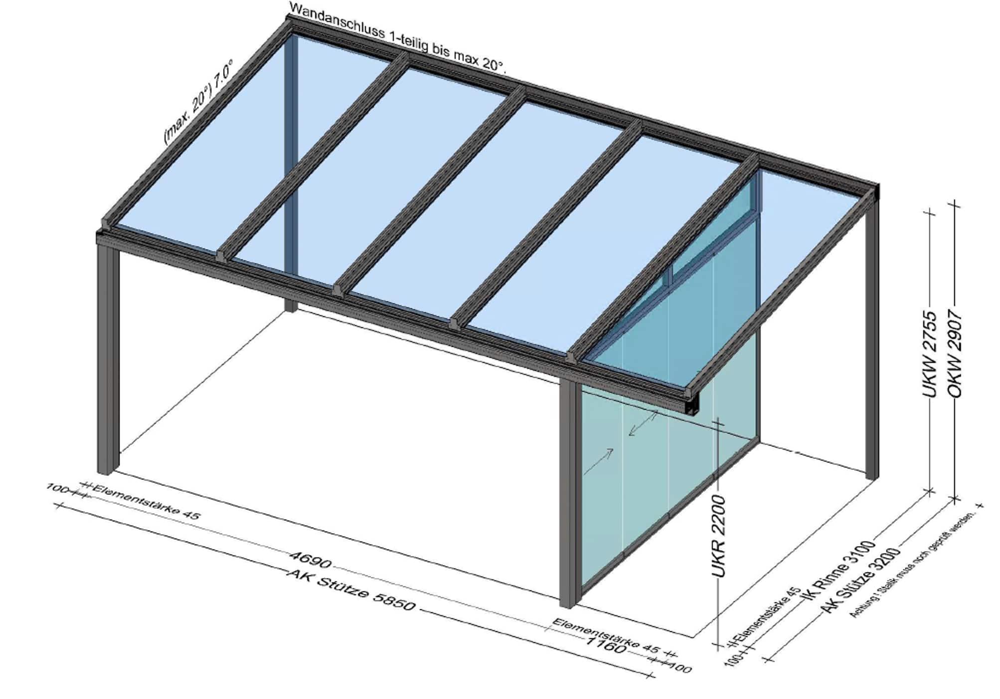 Terrassenüberdachung mit einer Seitenwand - Preis