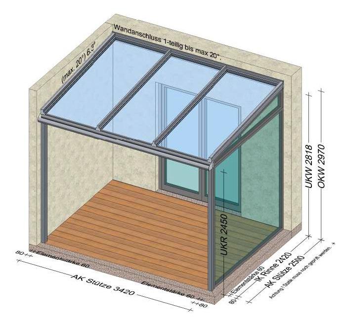 Terrassenüberdachung mit einer Seitenwand