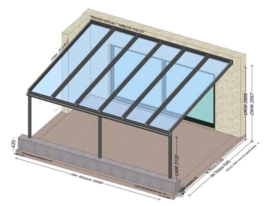 Terrassenüberdachung mit gemauerten Sockel