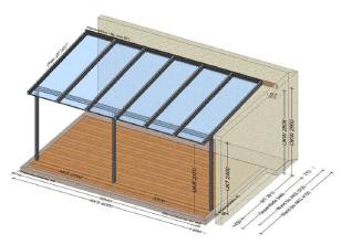 Terrassenüberdachung mit Glasüberstand - Preis