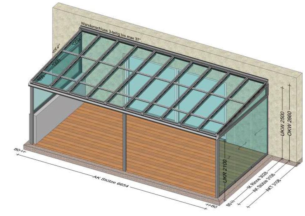 Terrassenüberdachung mit PV-Modulen und 2x Seitenwänden - Planung