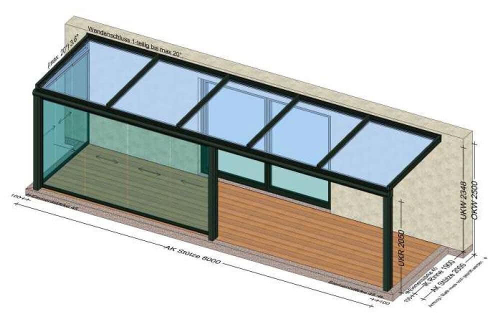 Terrassenüberdachung mit Schiebetüren