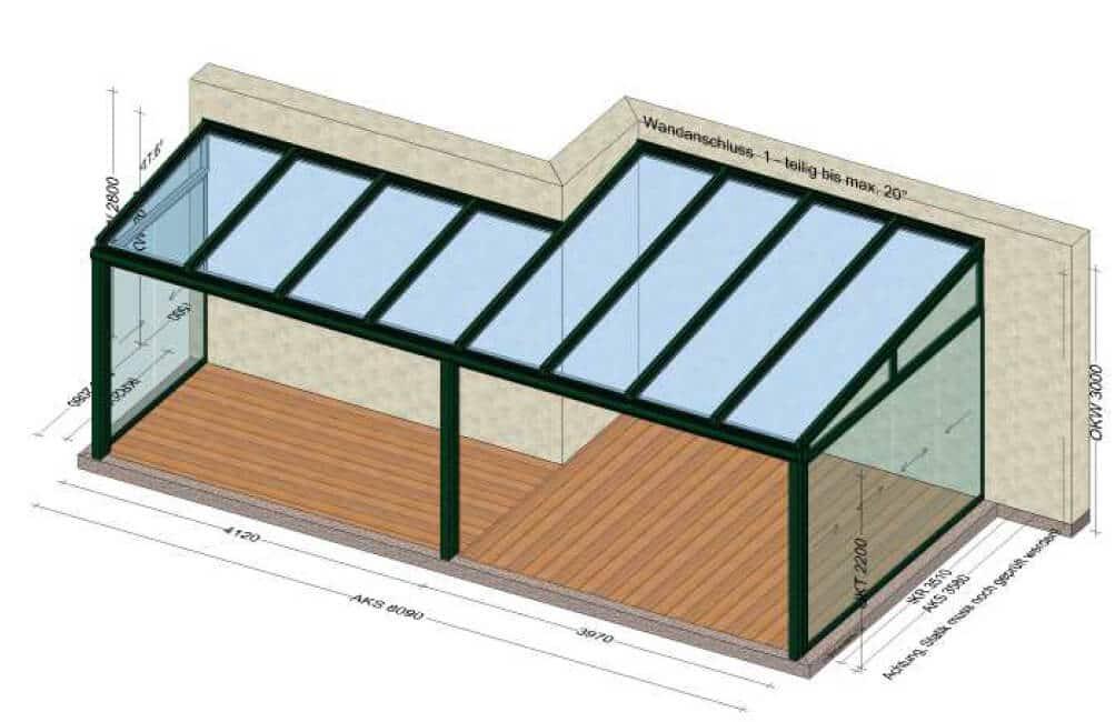 Terrassenüberdachung mit Seitenwand