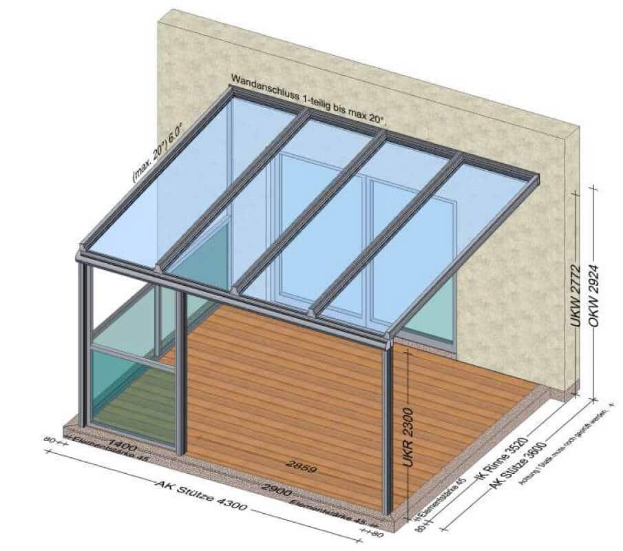 Terrassenüberdachung mit seitlichem Balkongeländer aus Glas