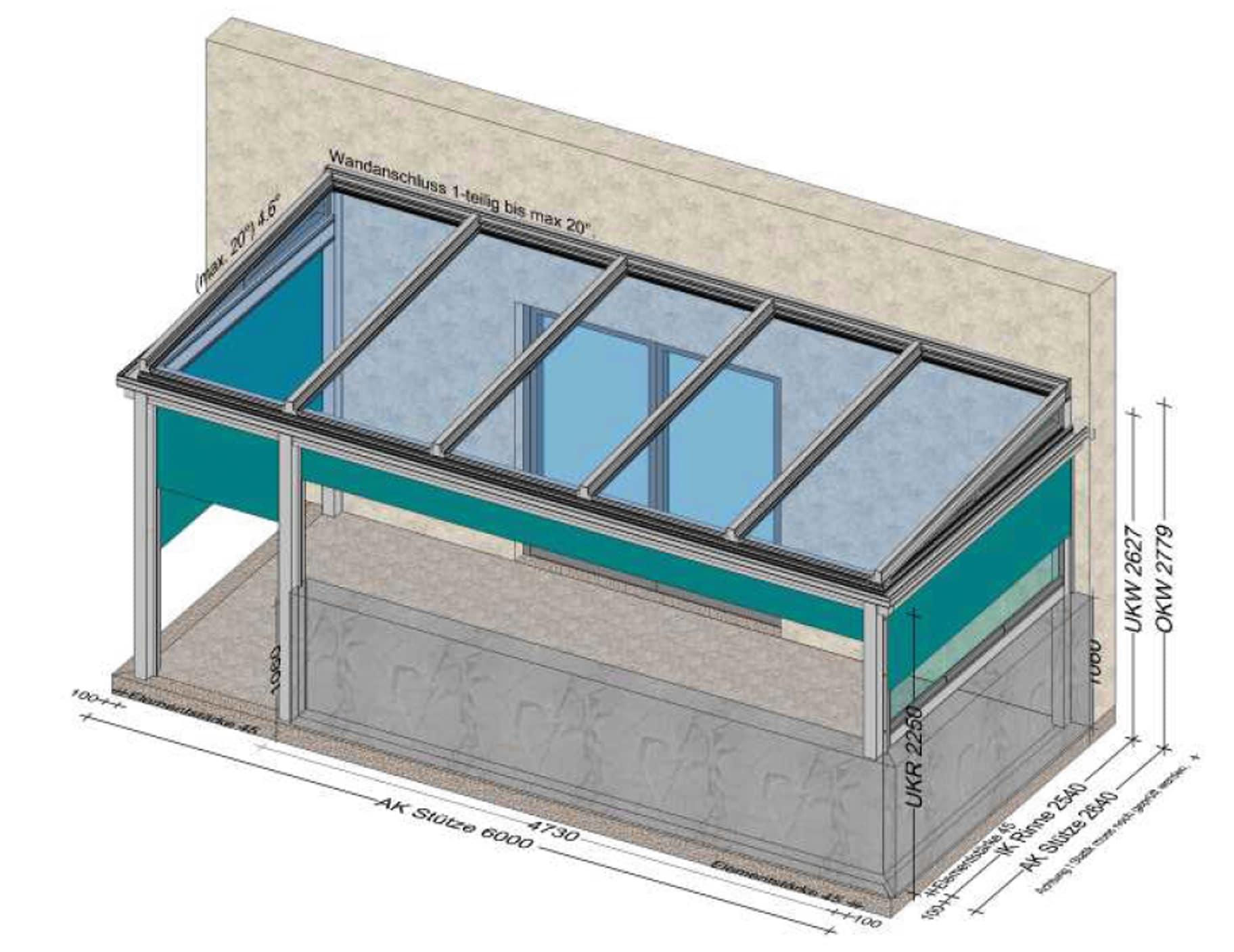 Terrassenüberdachung mit seitlichem Beschattungssystem - Planung OÖ