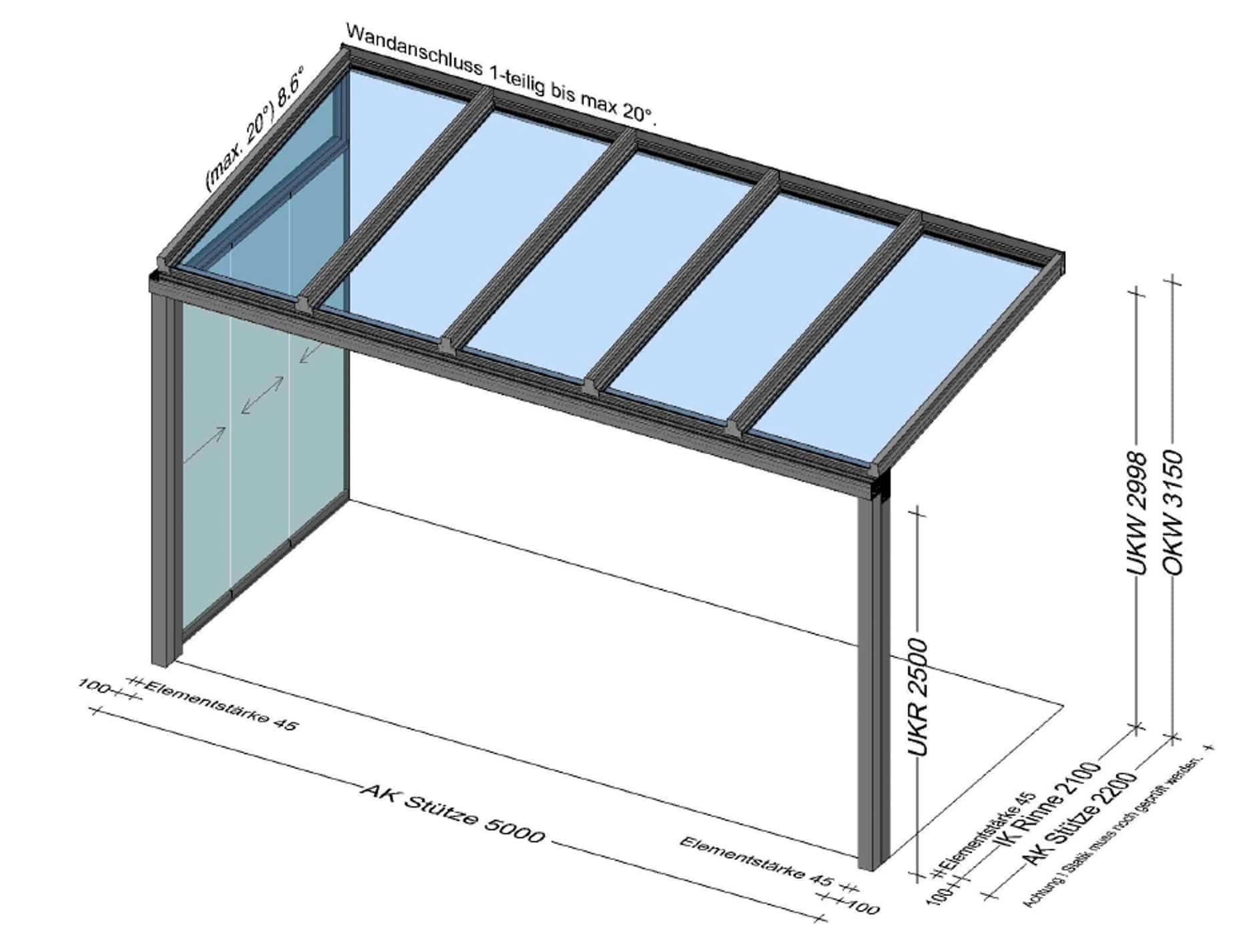 Terrassenüberdachung mit seitlicher Glasschiebewand