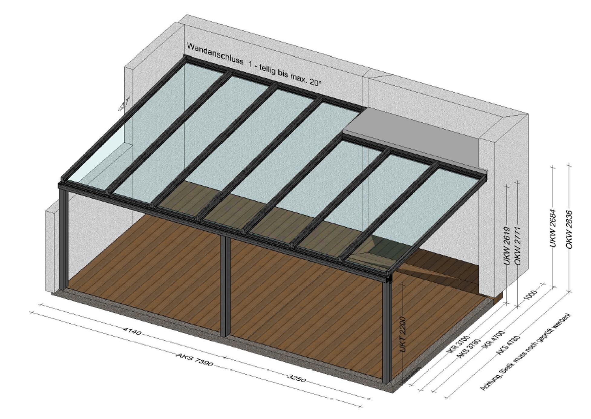 Terrassenüberdachung mit unterschiedlichen Tiefen
