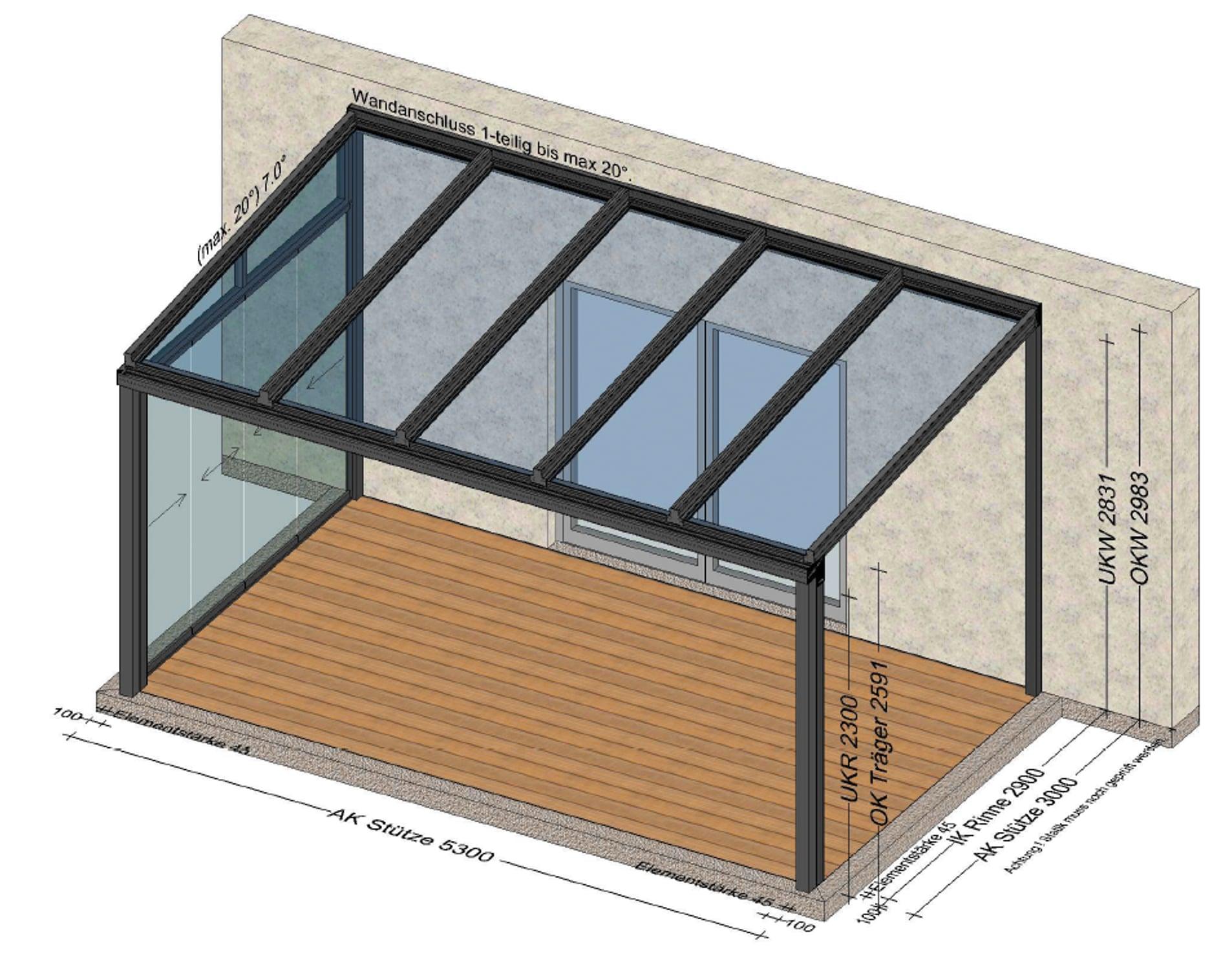 Terrassenüberdachung mit Wetterschutz seitlich