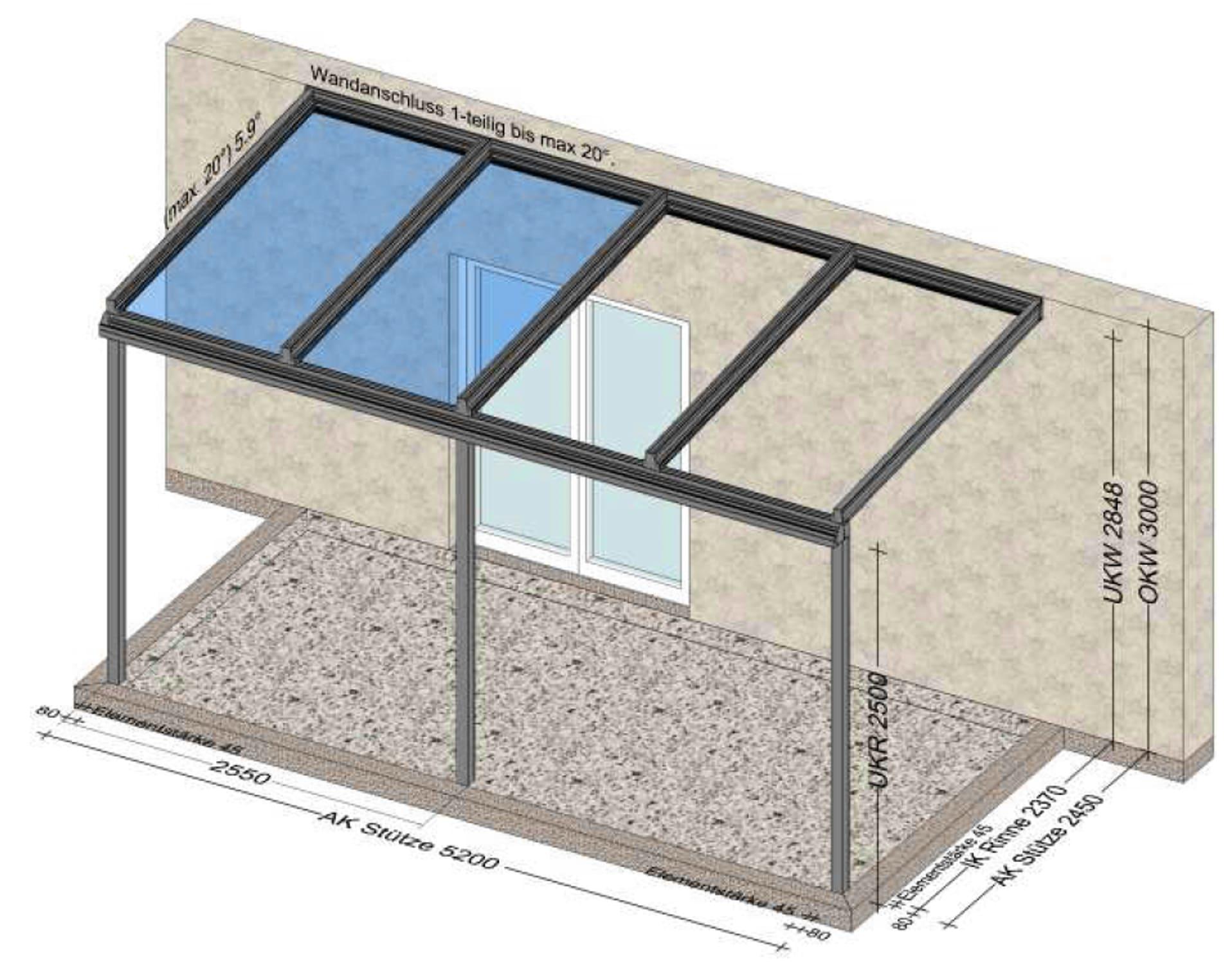 Terrassenüberdachung nur teilweise verglast - Planung