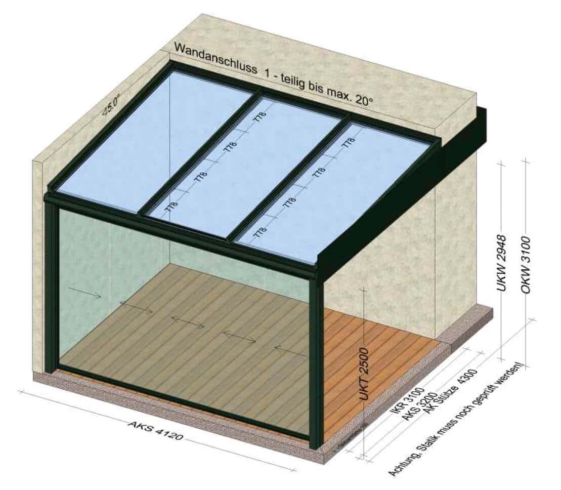 Terrassenüberdachung nur vorne geschlossen