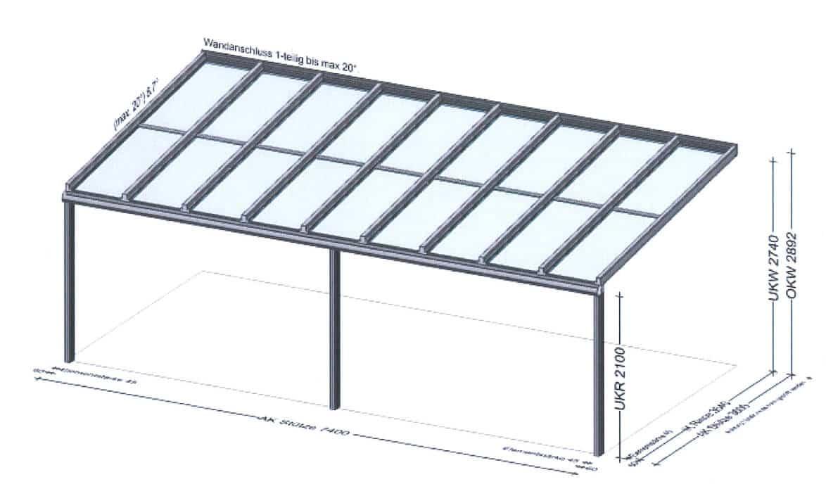 Terrassenüberdachung Pultdach