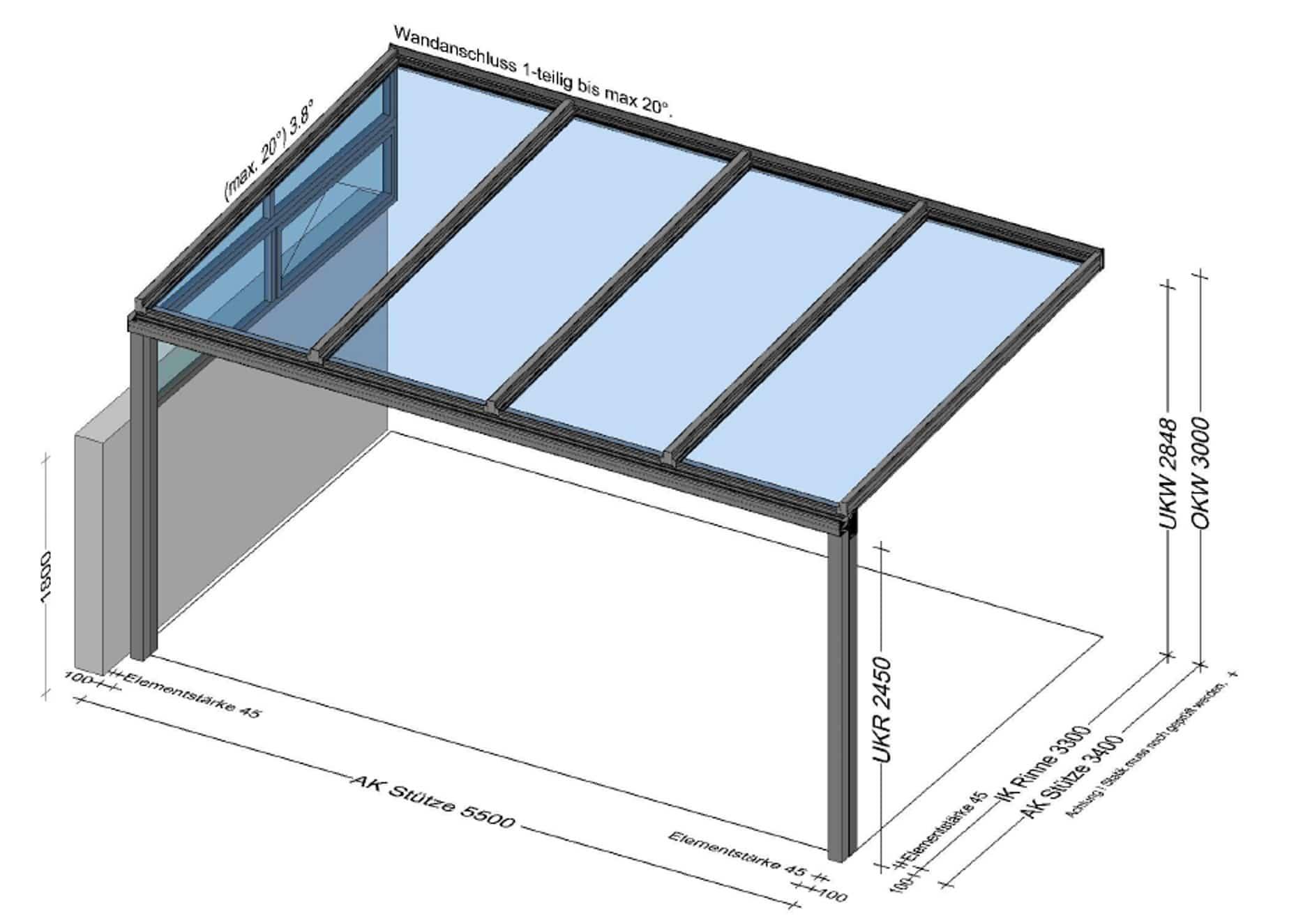 Terrassenüberdachung für Reihenhaus mit Mauer
