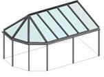 Terrassenüberdachung mit Satteldach vorne - Eckausführung - Pavillondach
