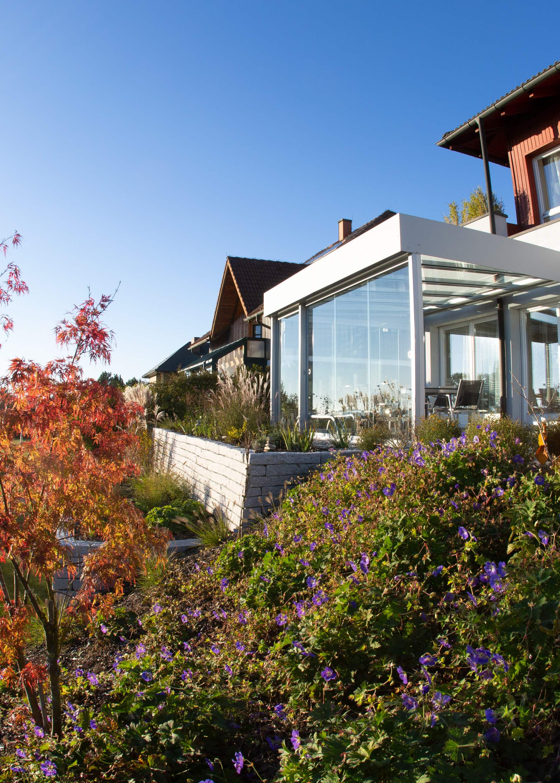 Terrassenüberdachung Schiebetüren Glasschiebewand