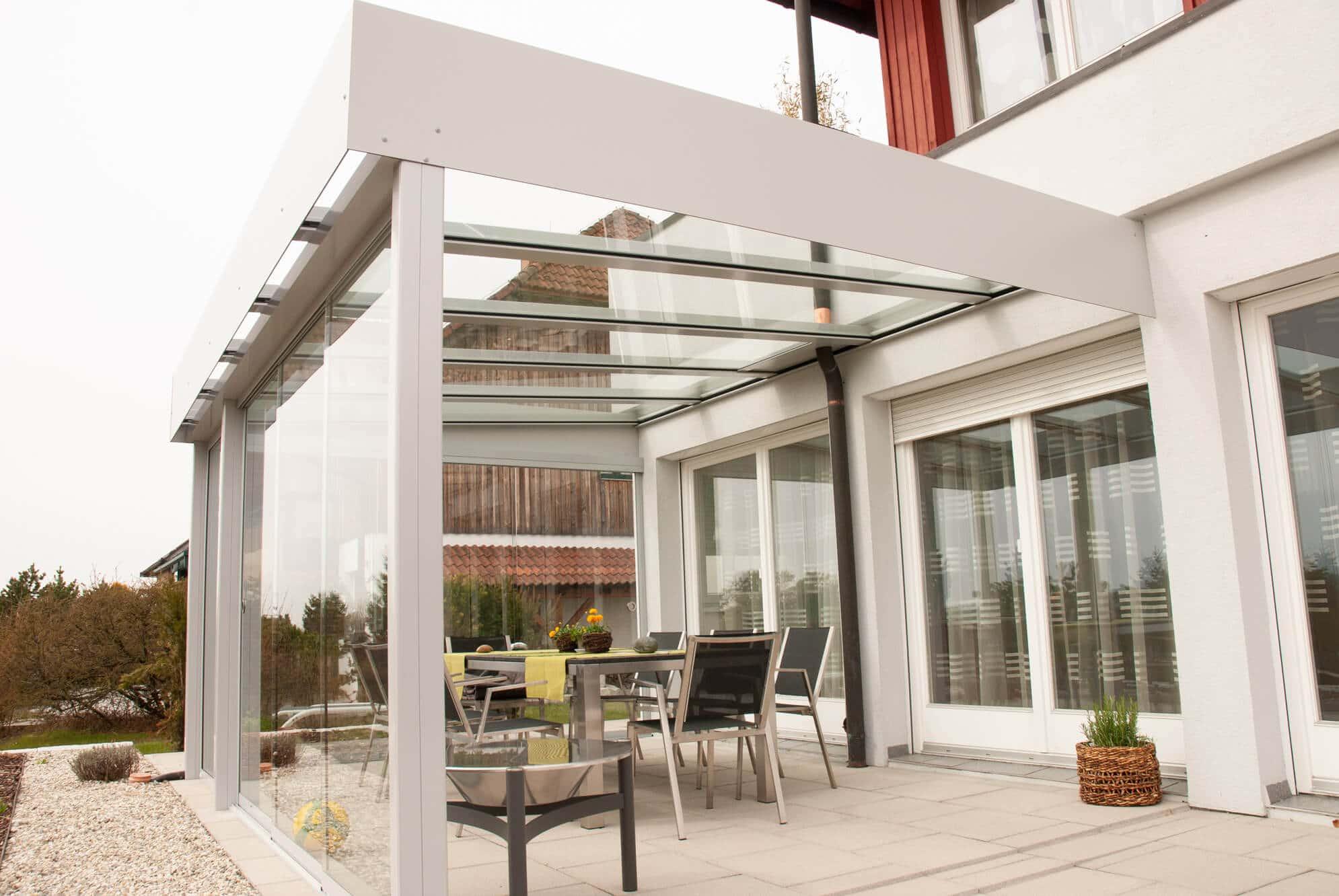 Terrassenüberdachung Schiebetür Glasschiebewand