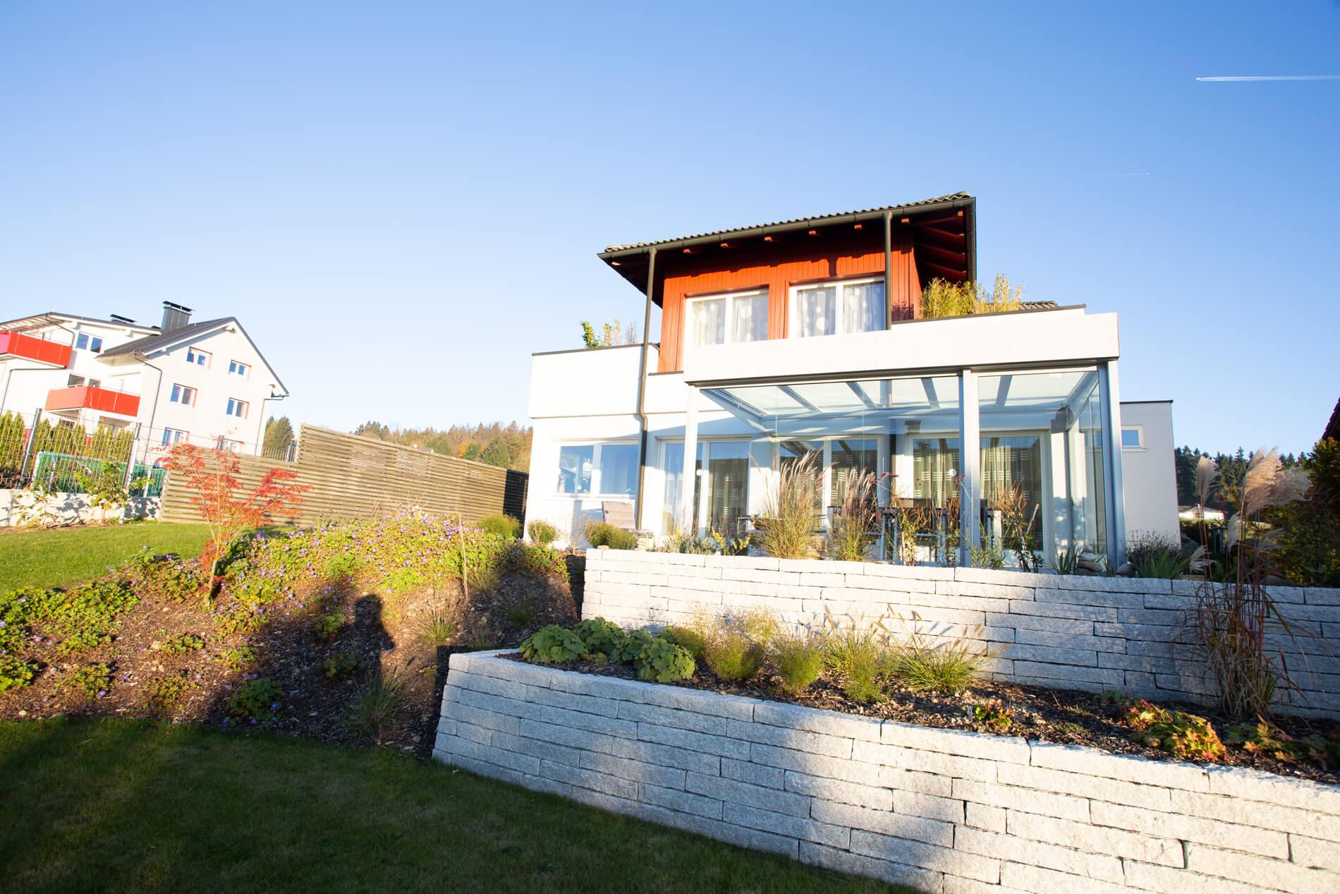 Terrassenüberdachung Seitenwand zum Schieben