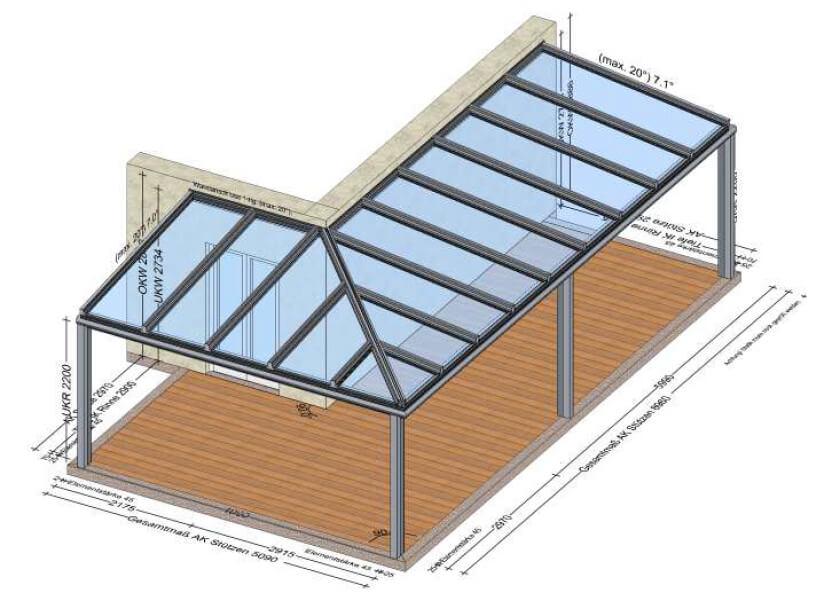 Terrassenüberdachung Skizze
