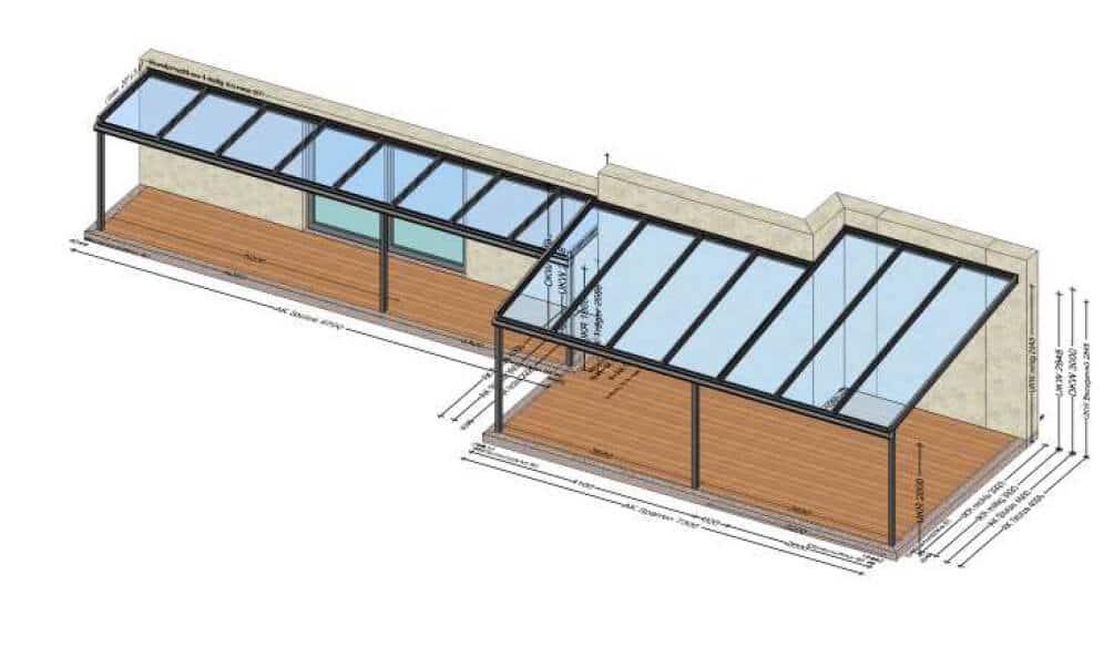Terrassenüberdachung Sonderanfertigung - Planung für 44400 Steyr