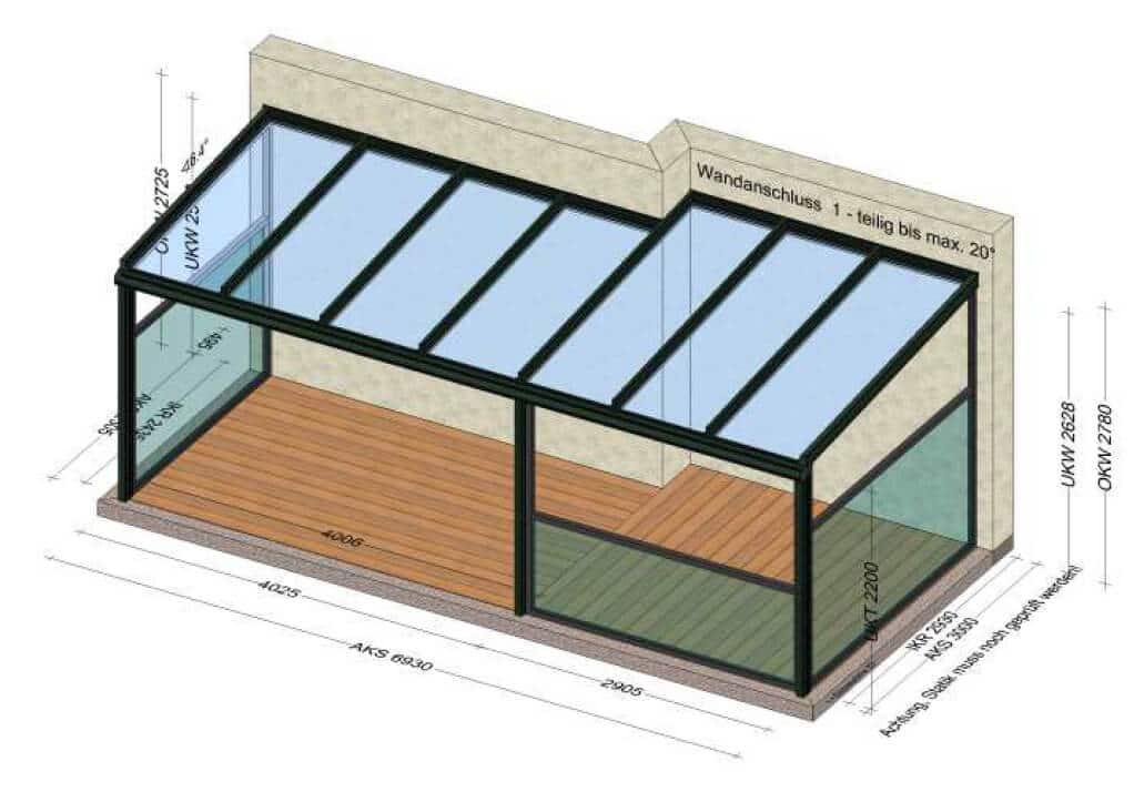 Terrassenüberdachung Sondermaße