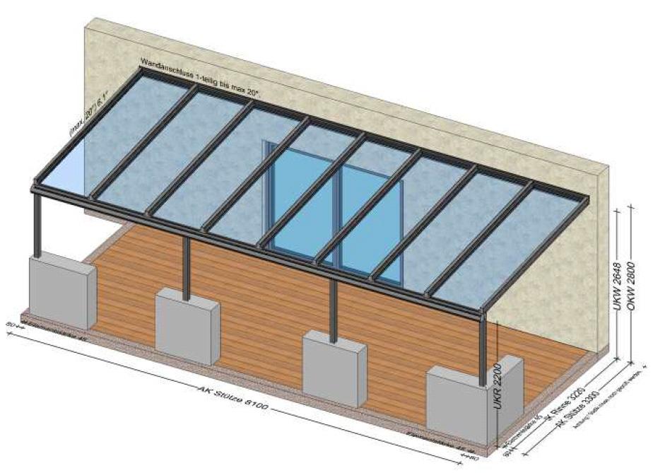 Terrassenüberdachung Stützen auf Mauer montiert