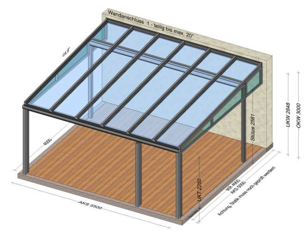 Terrassenüberdachung Tiefe bis 5 Meter - Planungsskizze