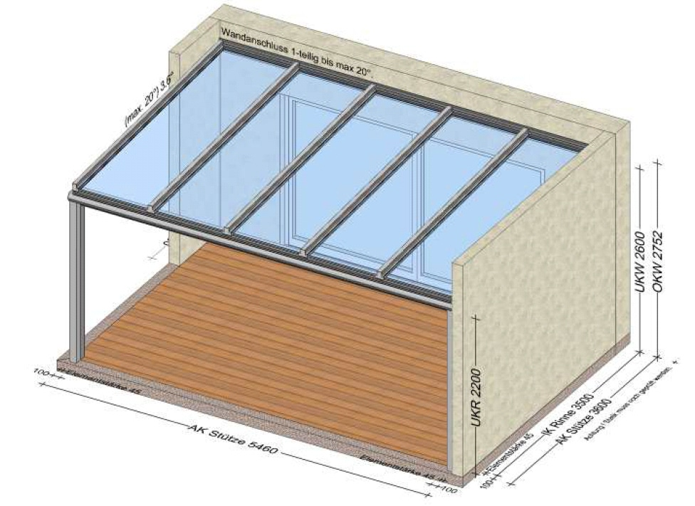 Terrassenüberdachung über 5 Meter