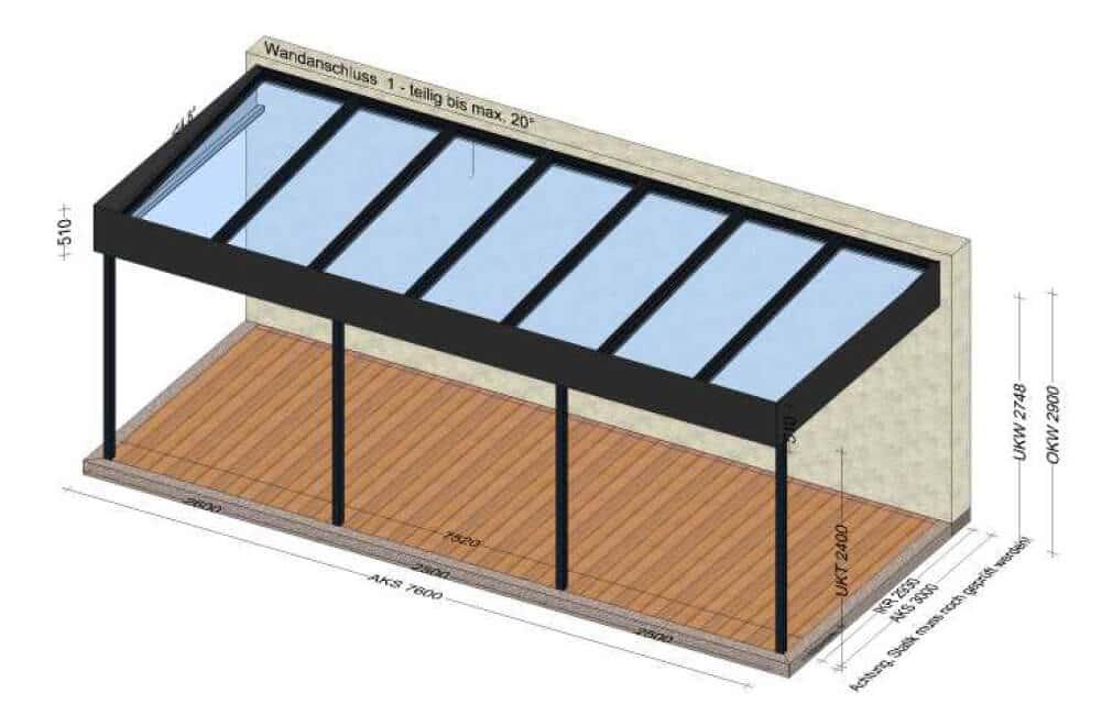 Terrassenüberdachung über 7 Meter