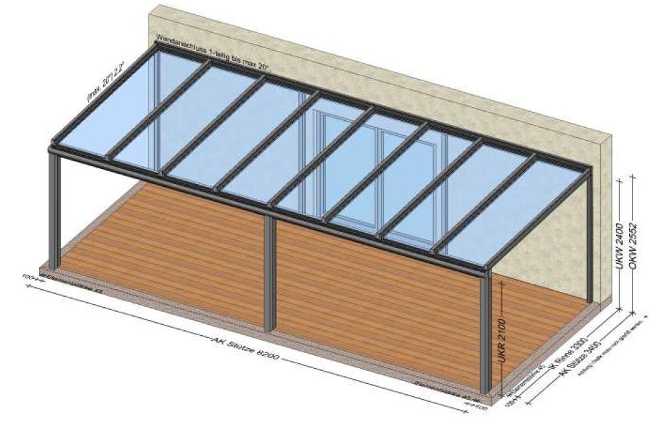 Terrassenüberdachung über 8 Meter