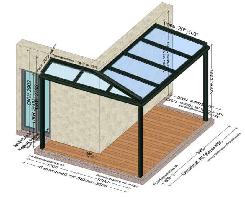 Terrassenüberdachung übers Eck in Alu