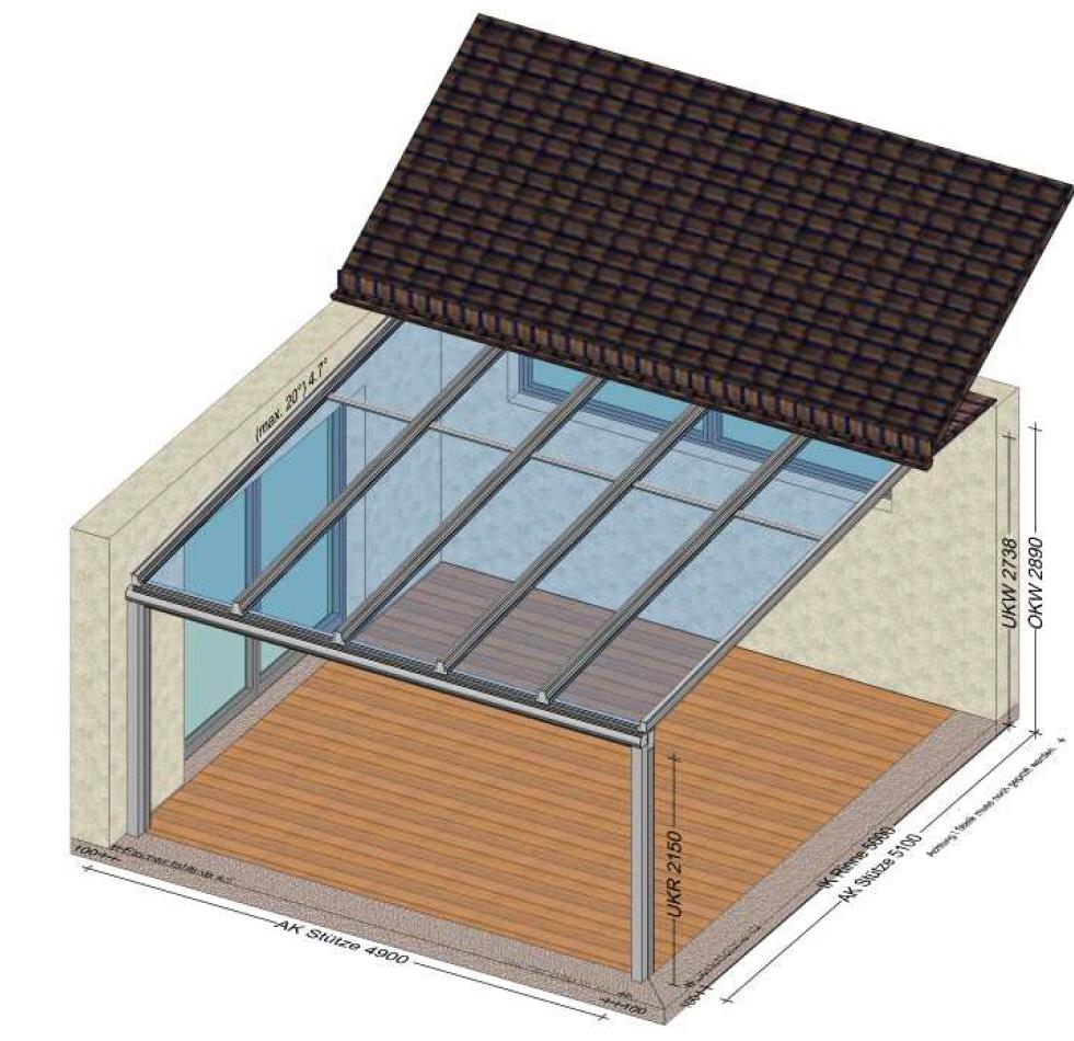 Terrassenüberdachung unter einem Hausdach