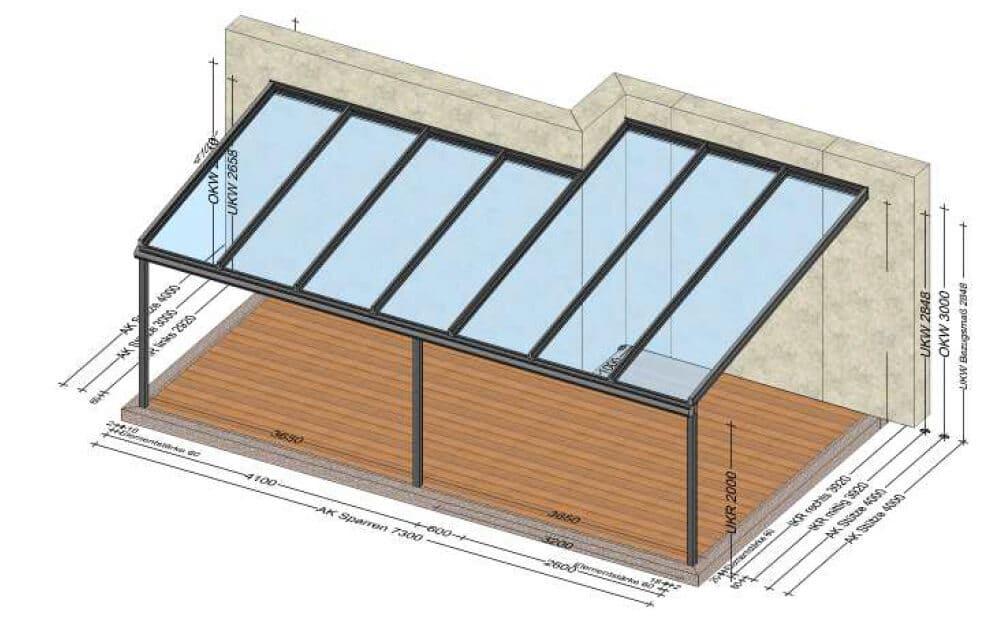 Terrassenüberdachung verschiedene Tiefen - Planung für 4400 Steyr