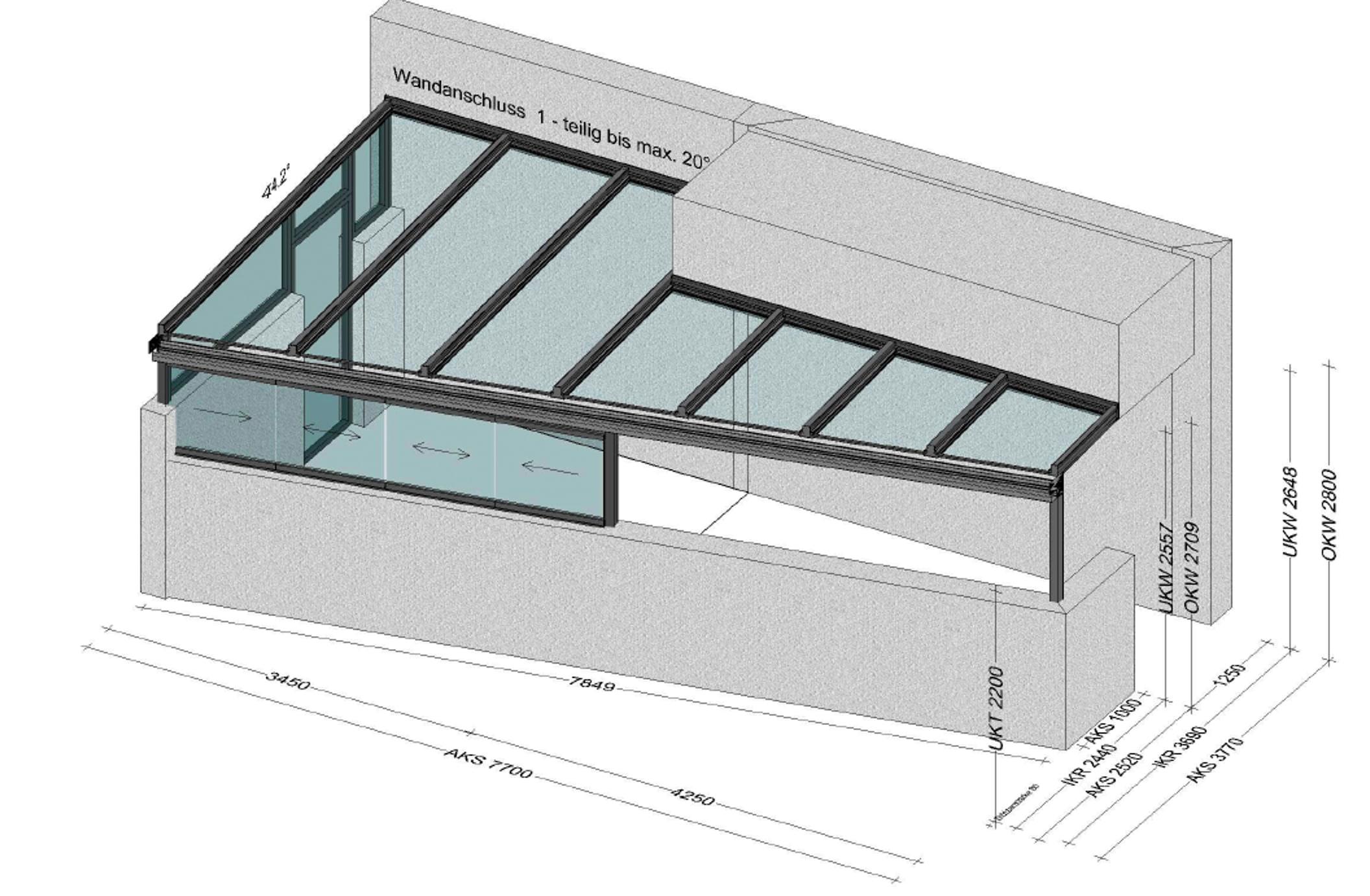 Terrassenüberdachung vorne abgeschrägt mit Teilverglasung seitlich